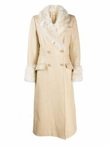 Miu Miu fur-lined double-breasted coat - NEUTRALS