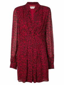 Saint Laurent leopard draped short dress - Red