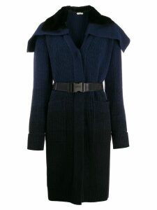 Fendi long belted knitted coat - Blue