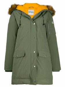 Kenzo faux fur hooded coat - Green