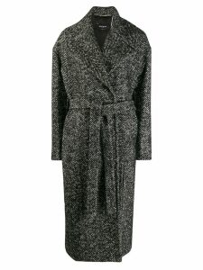 Rochas tie waist midi coat - Black