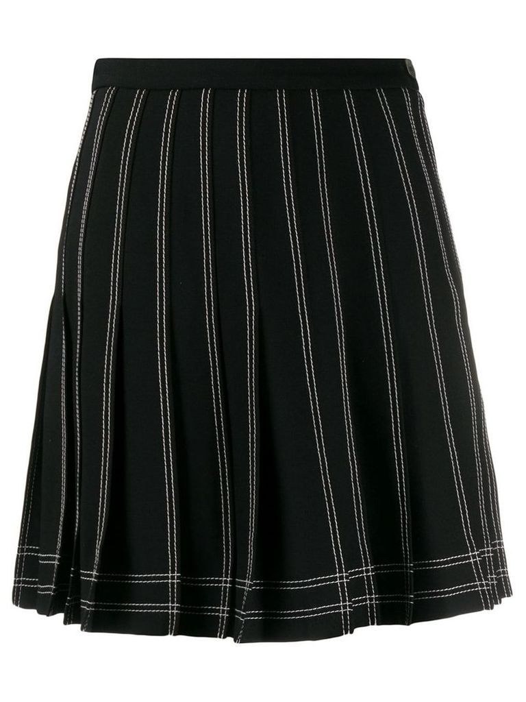 Off-White contrast stitch pleated skirt - Black