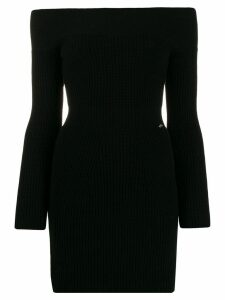 Elisabetta Franchi off shoulder ribbed knit dress - Black