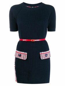 Elisabetta Franchi belted ribbed knit dress - Blue