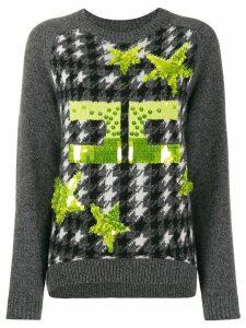 Elisabetta Franchi sequin embellished intarsia sweater - Grey
