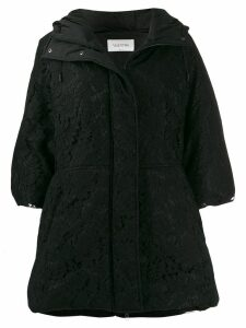 Valentino lace overlay hooded coat - Black
