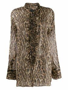 R13 ruffled leopard print blouse - Brown