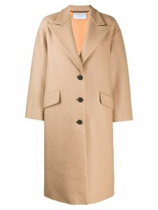 Harris Wharf London single breasted midi coat - Brown