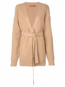 Altuzarra embroidered belted cardigan - Brown
