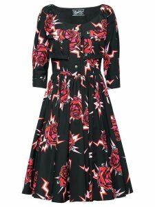 Prada graphic rose print dress - Black