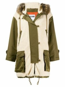 Moschino faux-shearling parka coat - NEUTRALS