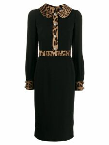Dolce & Gabbana leopard-print trim dress - Black