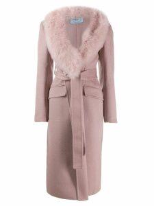 Prada fur collar wrap coat - Pink