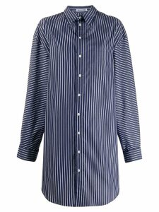Balenciaga oversized striped pulled shirt dress - Blue
