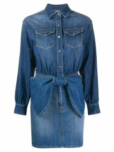 Elisabetta Franchi bow detail denim shirt dress - Blue