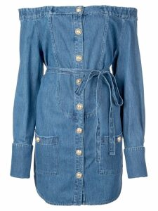 Balmain off shoulder denim dress - Blue