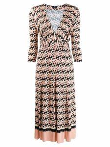 Elisabetta Franchi monogram print flared dress - PINK