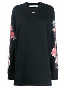 Off-White rose print sweater dress - Black