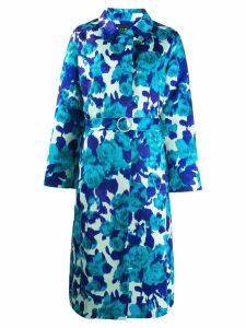 Richard Quinn floral belted coat - Blue