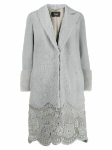 Fendi scalloped hem coat - Grey