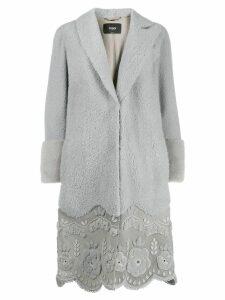 Fendi scalloped hem coat - Grey