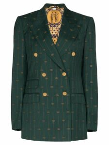 Gucci GG print double-breasted blazer - Green