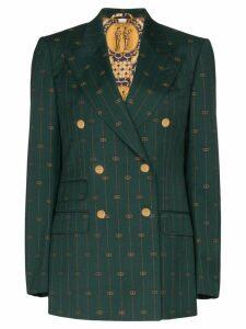 Gucci GG print double-breasted blazer - Green