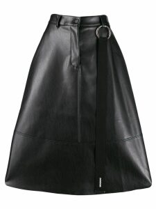 Brognano faux-leather flared skirt - Black