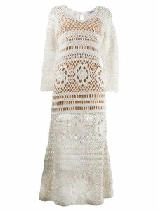 Self-Portrait knit maxi dress - White