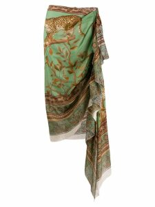 Johanna Ortiz asymmetric wrap skirt - Green
