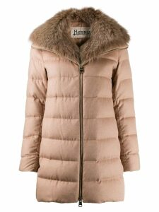 Herno detachable fur collar padded coat - Neutrals