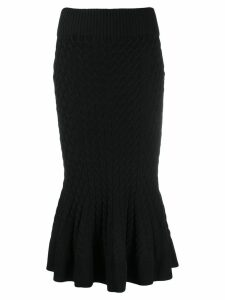Alexander McQueen flared hem knitted skirt - Black