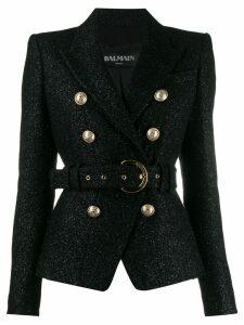 Balmain glittered belted blazer - Black