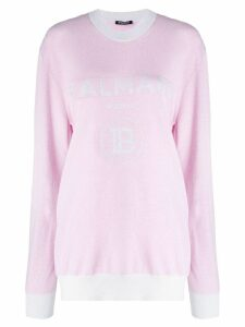 Balmain intarsia logo jumper - Pink