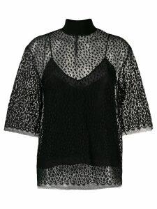 Givenchy leopard print lace top - Black