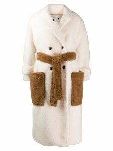 L'Autre Chose faux-fur midi coat - White