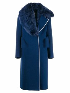 Fendi fox-fur collar coat - Blue