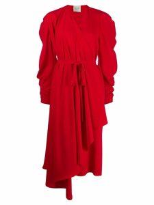 A.W.A.K.E. Mode pleated wrap dress - Red