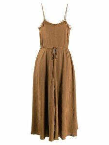 Vince spaghetti straps midi dress - Brown