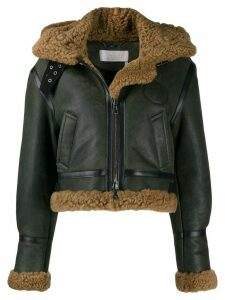 Chloé shearling hooded aviator jacket - Green