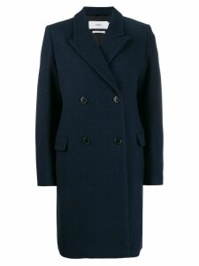 Closed double-breasted midi coat - Blue