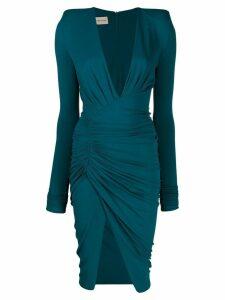 Alexandre Vauthier deep V-neck ruched dress - Blue
