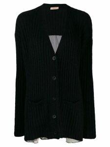 Twin-Set printed ribbed cardigan - Black