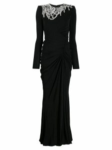 Alexander McQueen crystal-embellished draped dress - Black