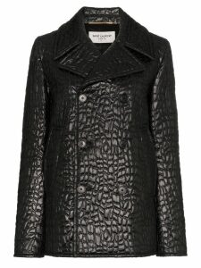 Saint Laurent lacquered crocodile-style pea coat - Black