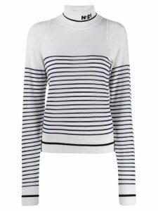 Nº21 striped wool sweater - White