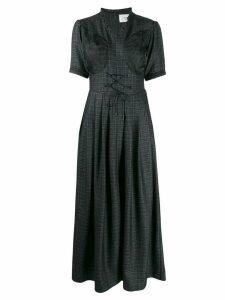 Quetsche short-sleeve flared dress - Black