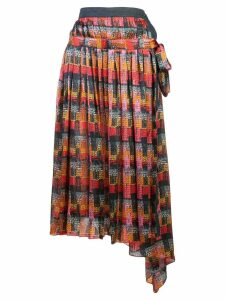 Adam Lippes printed wrap skirt - Red
