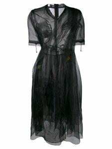 Quetsche ruched midi flared dress - Black