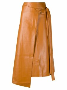 A.W.A.K.E. Mode asymmetric wrap skirt - Brown